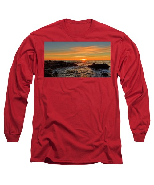 Sunrise By The Mediterranean Sea In Oropesa, Castellon Long Sleeve T-Shirt
