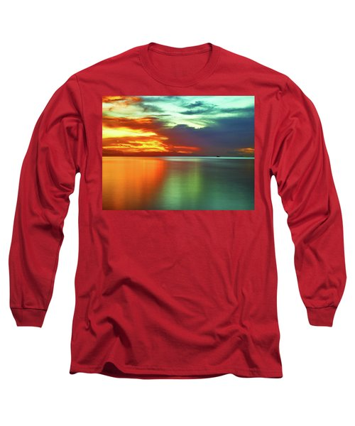 Sunset And Boat Long Sleeve T-Shirt