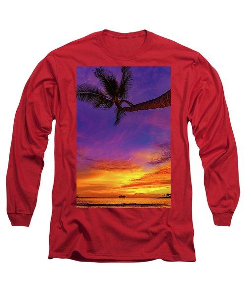 Vibrant Kona Inn Sunset Long Sleeve T-Shirt