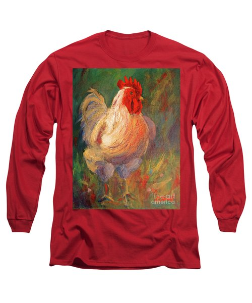 White And Red Chicken Against Green Long Sleeve T-Shirt