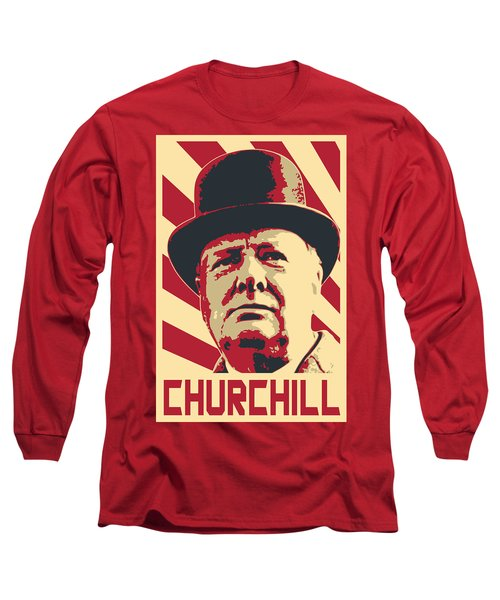 Winston Churchill Propaganda Pop Art Long Sleeve T-Shirt