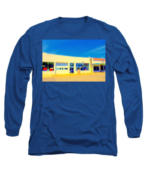 Long Sleeve T-Shirt featuring the mixed media   Hopper Garage by Terence Morrissey