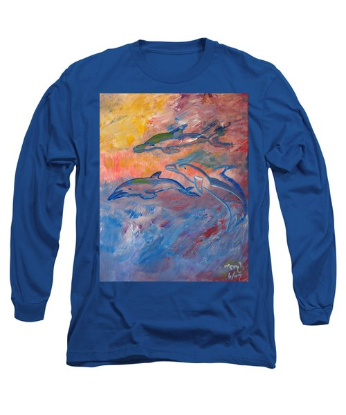 Soaring Dolphins Long Sleeve T-Shirt by Meryl Goudey