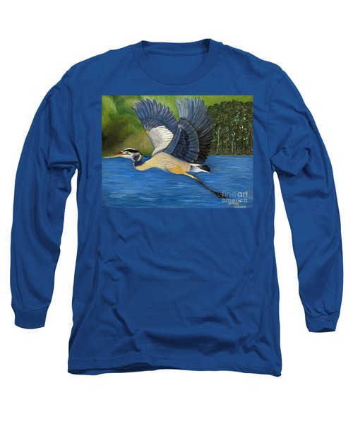 Long Sleeve T-Shirt featuring the painting Blue Heron In Flight by Brenda Brown
