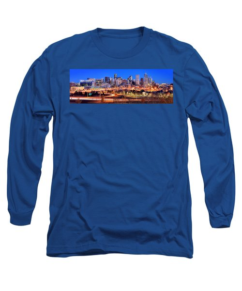 Long Sleeve T-Shirt featuring the photograph Denver Skyline At Dusk Evening Color Evening Panorama Broncos Colorado  by Jon Holiday
