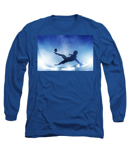 Football Soccer Match A Player Shooting On Goal Long Sleeve T-Shirt by Michal Bednarek