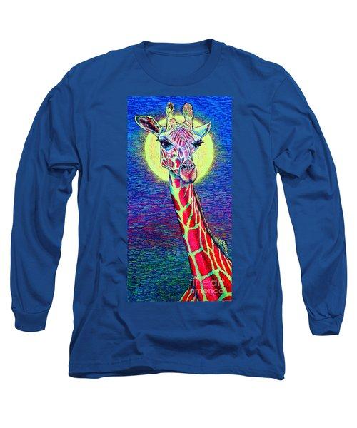 Long Sleeve T-Shirt featuring the painting Giraffe by Viktor Lazarev