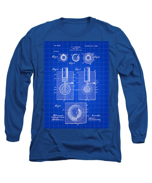 Golf Ball Patent 1902 - Blue Long Sleeve T-Shirt by Stephen Younts