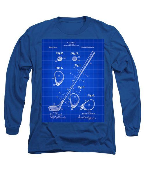 Golf Club Patent 1909 - Blue Long Sleeve T-Shirt by Stephen Younts