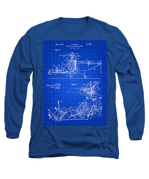Helicopter Patent 1940 - Blue Long Sleeve T-Shirt by Stephen Younts