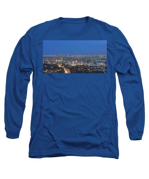 L.a. Skyline Los Angeles Ca Cityscape Night Dusk Lit Lights On 3 Long Sleeve T-Shirt
