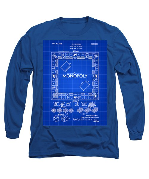 Monopoly Patent 1935 - Blue Long Sleeve T-Shirt by Stephen Younts