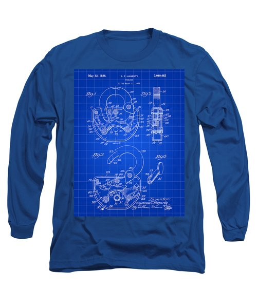 Padlock Patent 1935 - Blue Long Sleeve T-Shirt by Stephen Younts
