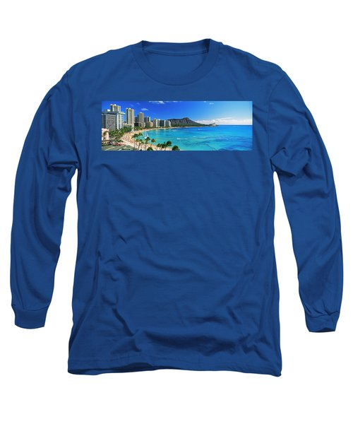 Palm Trees On The Beach, Diamond Head Long Sleeve T-Shirt