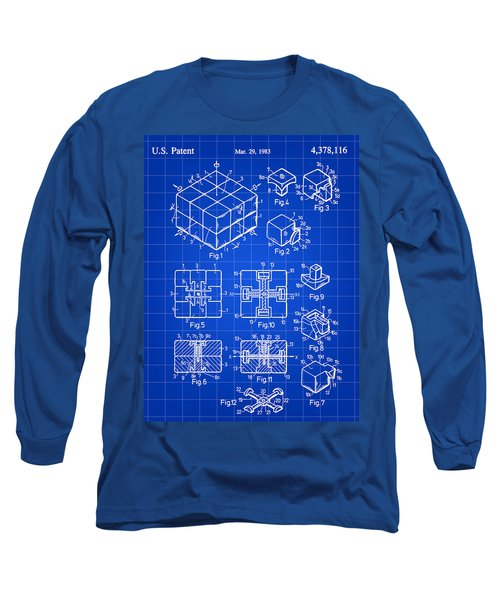 Rubik's Cube Patent 1983 - Blue Long Sleeve T-Shirt by Stephen Younts