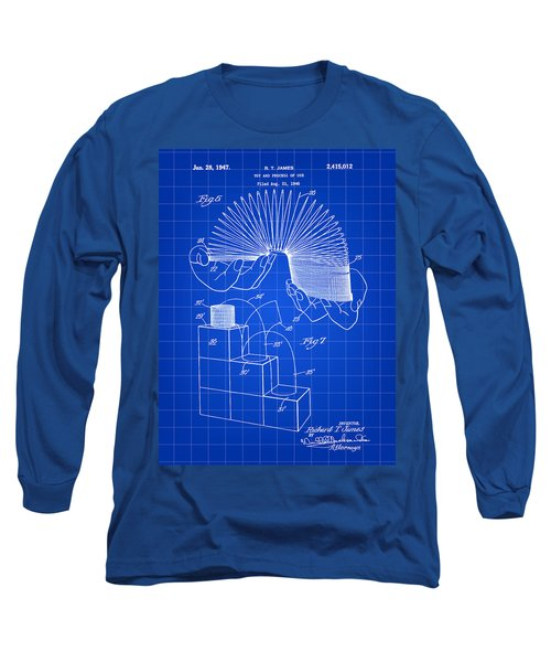 Slinky Patent 1946 - Blue Long Sleeve T-Shirt by Stephen Younts