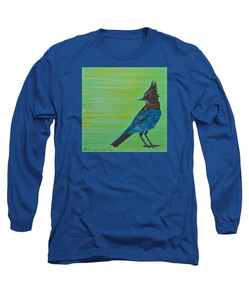 Long Sleeve T-Shirt featuring the painting Stellar Jay by Jennifer Lake