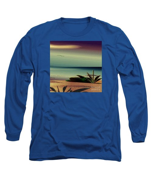 Long Sleeve T-Shirt featuring the drawing Sunset On The Beach by Iris Gelbart