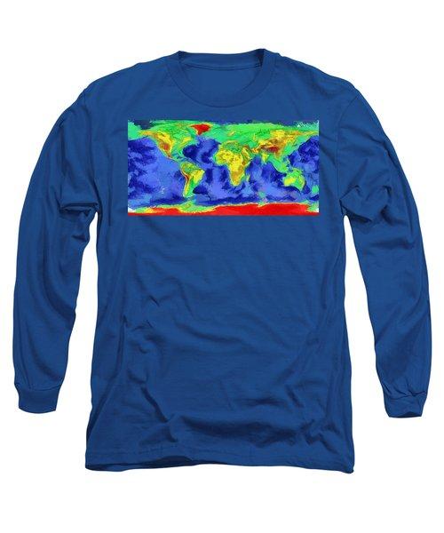 World Map Art Long Sleeve T-Shirt by Georgi Dimitrov