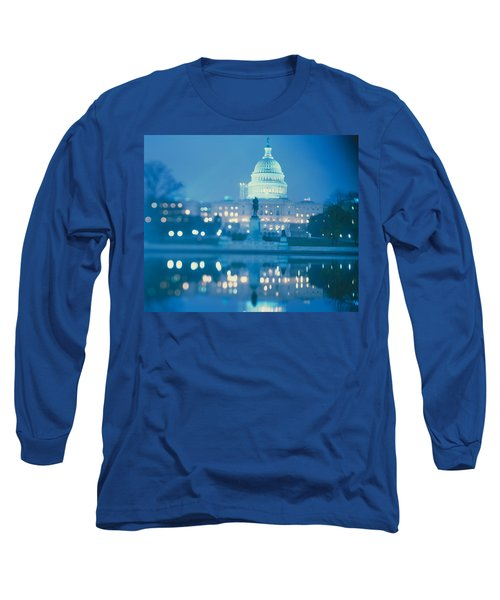 Government Building Lit Up At Night Long Sleeve T-Shirt by Panoramic Images