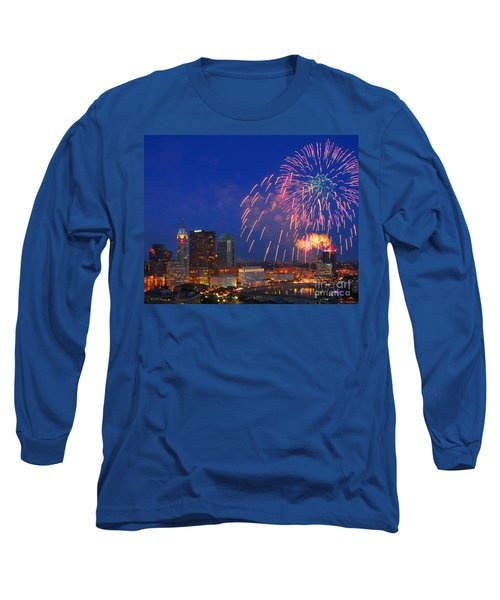D21l-10 Red White And Boom Fireworks Display In Columbus Ohio Long Sleeve T-Shirt