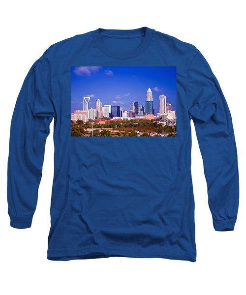 Long Sleeve T-Shirt featuring the photograph Skyline Of Uptown Charlotte North Carolina At Night by Alex Grichenko