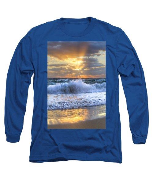 Splash Sunrise Long Sleeve T-Shirt by Debra and Dave Vanderlaan
