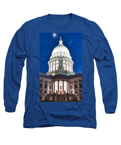Wisconsin State Capitol Building At Night Long Sleeve T-Shirt