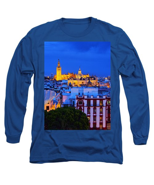 Cityscape And The Cathedral Of Seville Long Sleeve T-Shirt
