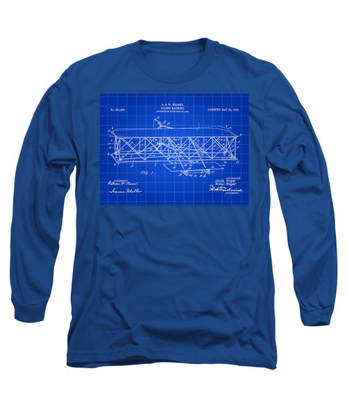 Flying Machine Patent 1903 - Blue Long Sleeve T-Shirt by Stephen Younts