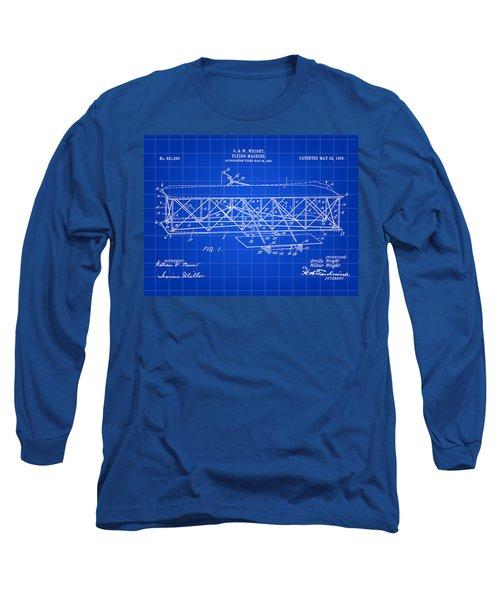 Flying Machine Patent 1903 - Blue Long Sleeve T-Shirt