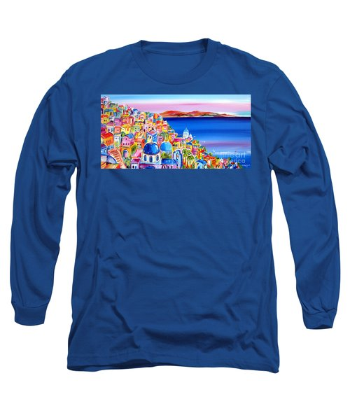 A Bright Day In Santorini Greece Long Sleeve T-Shirt