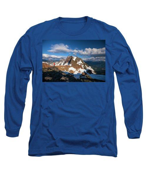 A Hiker Stands On A Rocky Ridge Long Sleeve T-Shirt