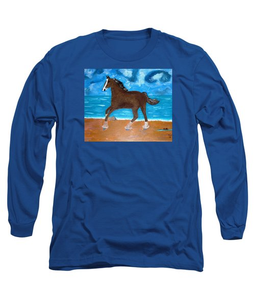 A Horse On The Beach Long Sleeve T-Shirt by Magdalena Frohnsdorff
