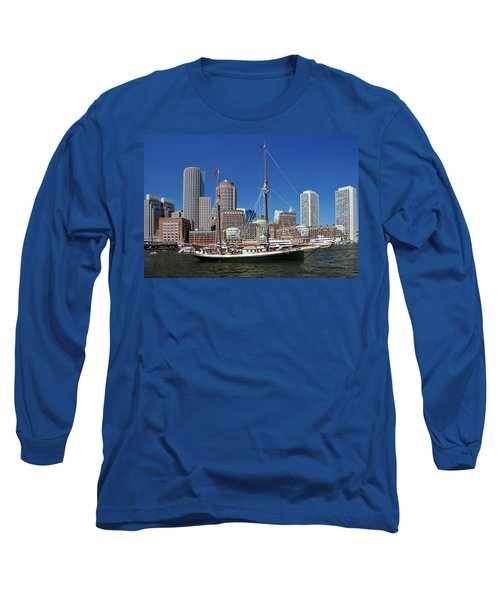A Ship In Boston Harbor Long Sleeve T-Shirt by Mitchell Grosky