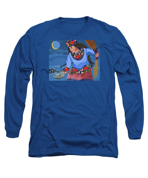 Long Sleeve T-Shirt featuring the painting A Study - Lightening Walker by Chholing Taha