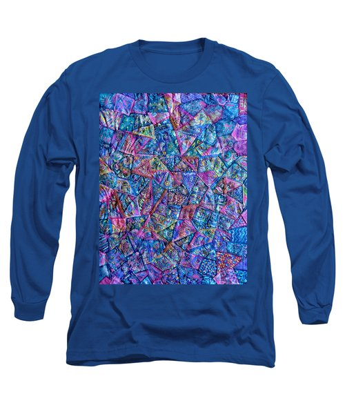Abstract Blue Rose Quilt Long Sleeve T-Shirt