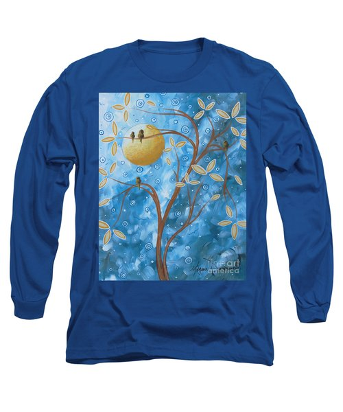 Abstract Landscape Bird Painting Original Art Blue Steel 1 By Megan Duncanson Long Sleeve T-Shirt