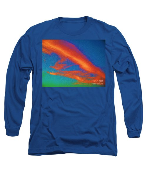 Abstract Red Blue And Green Sky Long Sleeve T-Shirt by Eric  Schiabor