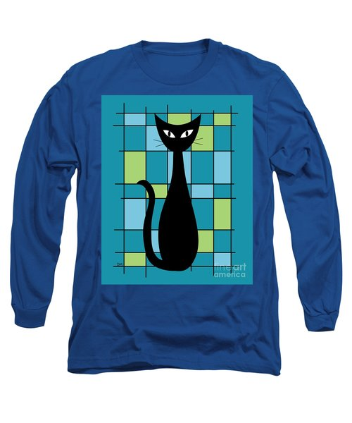 Abstract With Cat In Teal Long Sleeve T-Shirt
