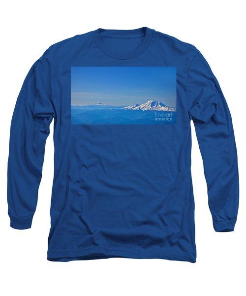 Aerial View Of Mount Rainier Volcano Art Prints Long Sleeve T-Shirt