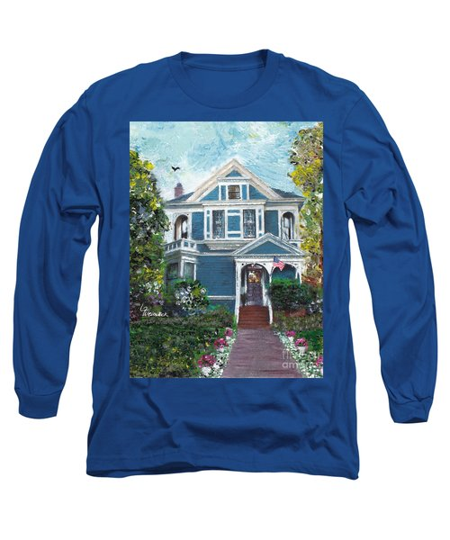 Long Sleeve T-Shirt featuring the painting Alameda 1887 - Queen Anne by Linda Weinstock