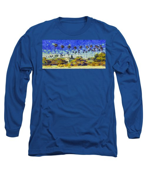 Alameda Famous Burbank Palm Trees Long Sleeve T-Shirt by Linda Weinstock