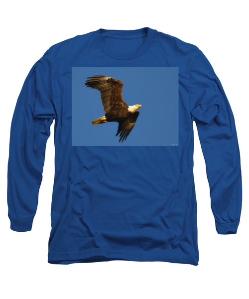 Long Sleeve T-Shirt featuring the photograph American Bald Eagle Close-ups Over Santa Rosa Sound With Blue Skies by Jeff at JSJ Photography