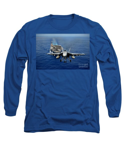Long Sleeve T-Shirt featuring the photograph An Fa-18 Hornet Demonstrates Air Power. by Paul Fearn