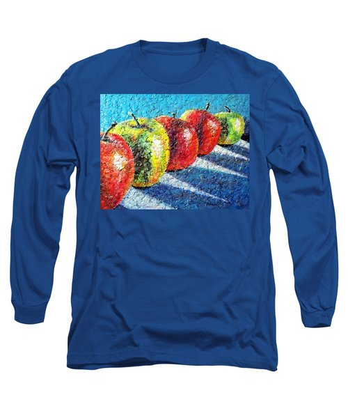 Long Sleeve T-Shirt featuring the painting Apple A Day by Susan DeLain