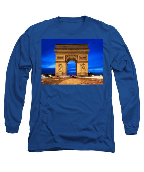Arc De Triomphe At Night Paris France  Long Sleeve T-Shirt