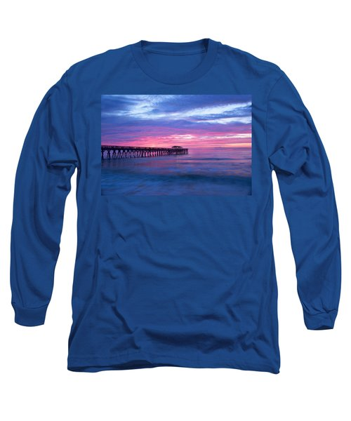 Myrtle Beach State Park Pier Sunrise Long Sleeve T-Shirt by Vizual Studio
