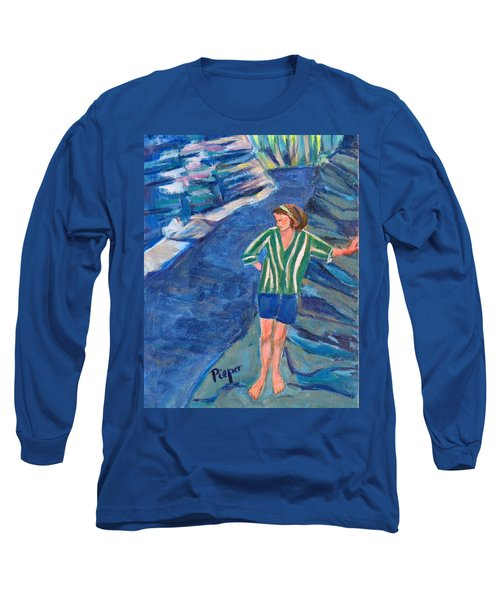 Long Sleeve T-Shirt featuring the painting At Wintergreen Park Canajoharie 1957 by Betty Pieper