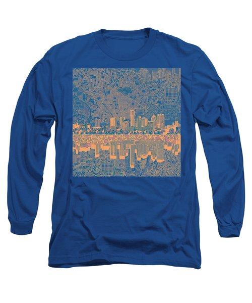 Austin Texas Skyline 2 Long Sleeve T-Shirt by Bekim Art